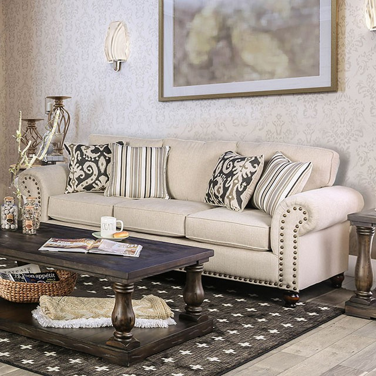 Josephine Transitional Loose Back Beige Fabric Sofa With