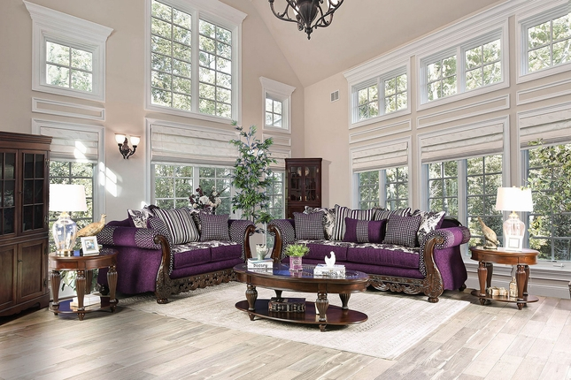 Josette Transitional Purple White Fabric Sofa Set With Brown