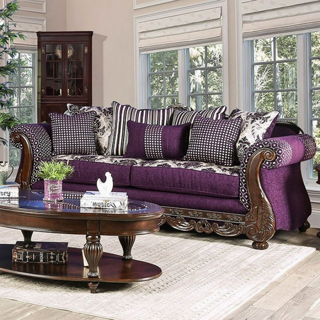 Josette Transitional Purple & White Fabric Sofa with Brown ...