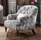 Julia Blue & White Charles of London Accent Chair with Feather Down Seating