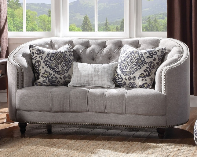 Light Gray Curved Tufted Loveseat