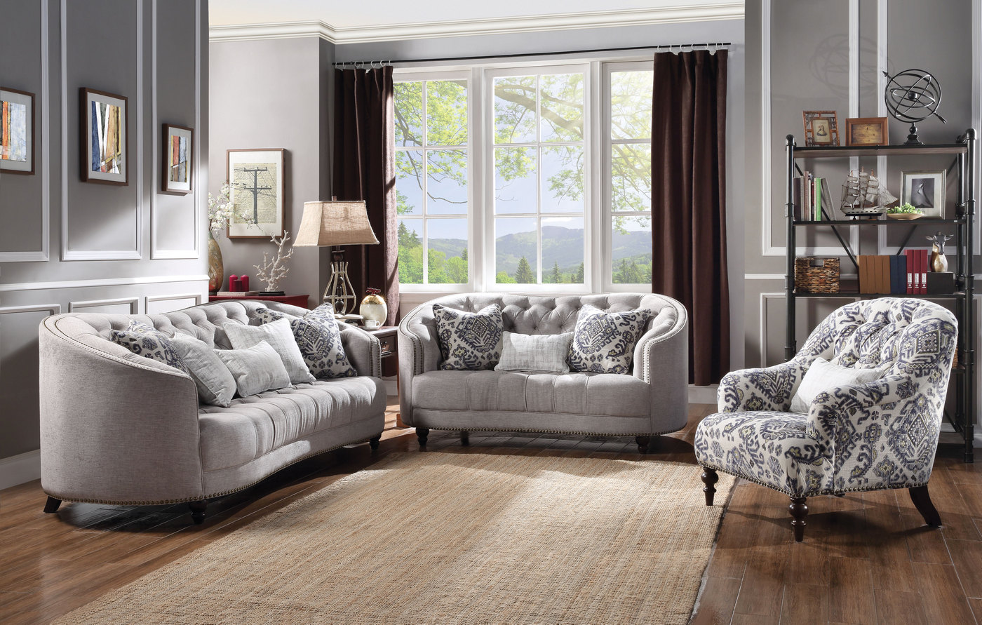 Julia curved light gray curved tufted sofa set w plush for Tufted couch set
