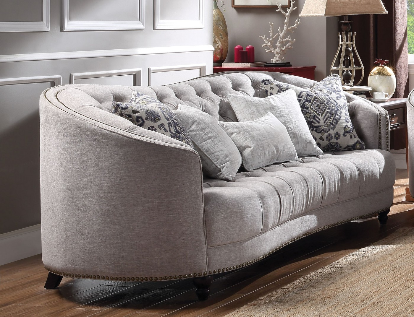 Julia Curved Light Gray Curved Tufted Sofa Set w/ Plush ...