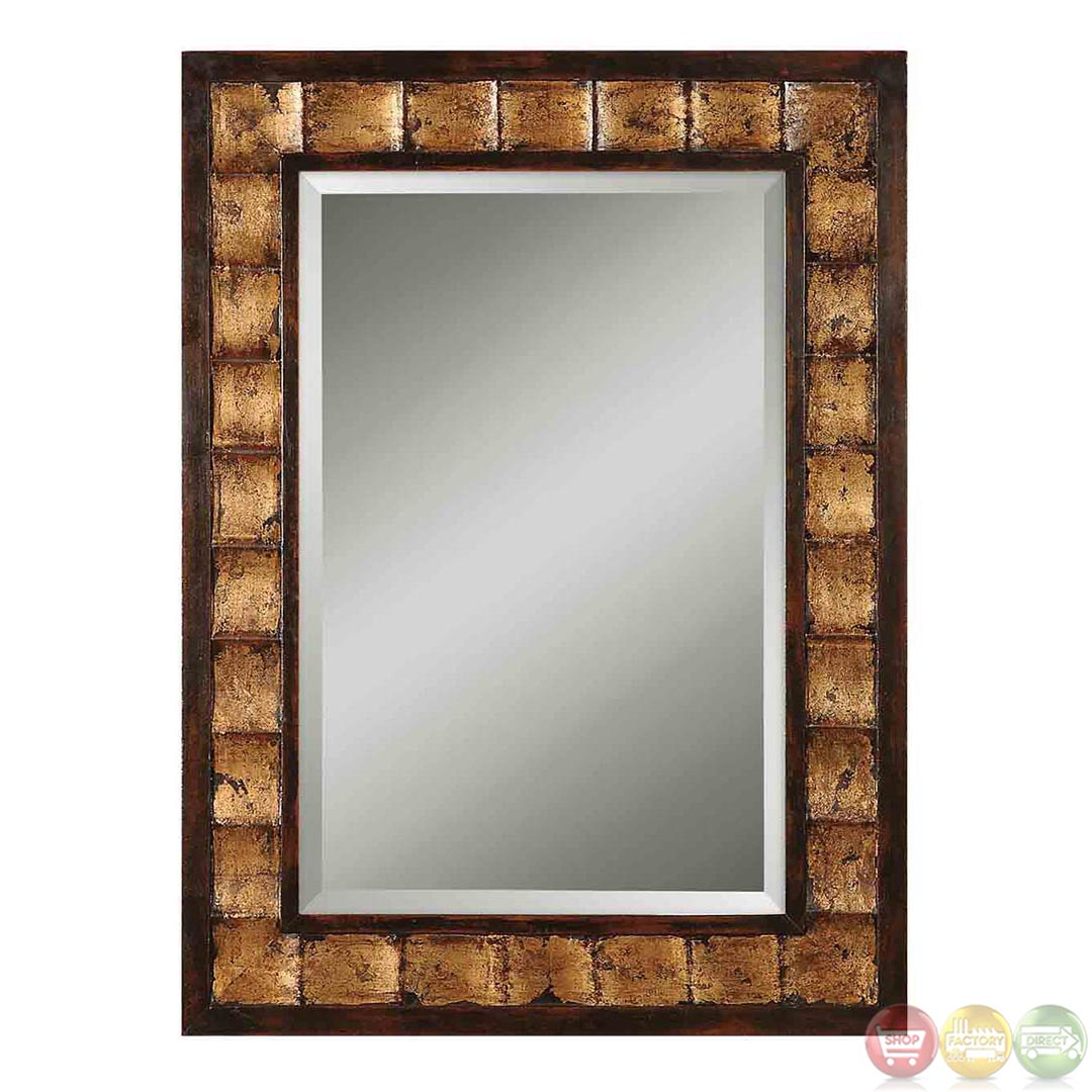 Justus rustic distressed mahogany mirror w wave design for Unique mirror frames