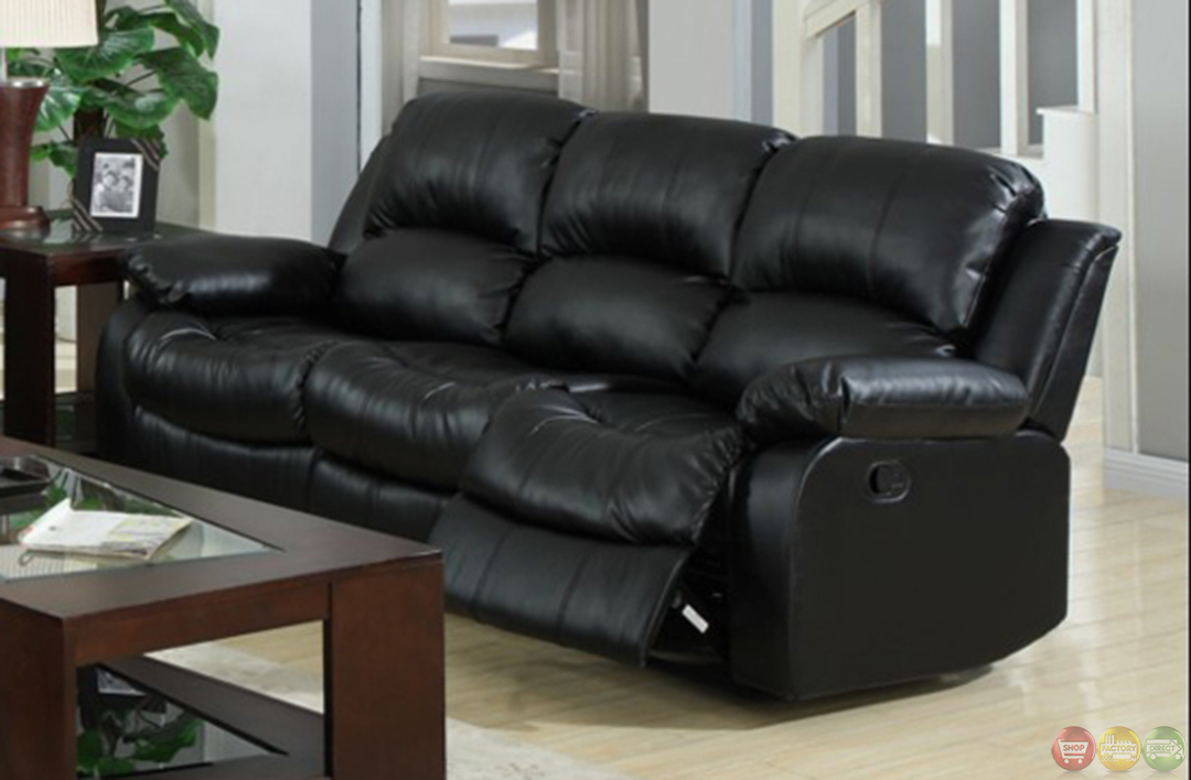 Kaden black bonded leather reclining sofa and loveseat set Reclining leather sofa and loveseat