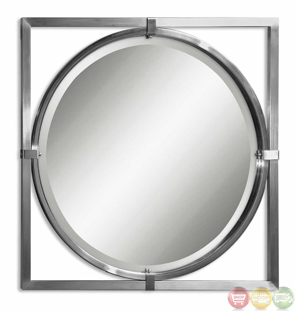 Kagami contemporary modern brushed nickel round mirror 01053 b Modern round mirror