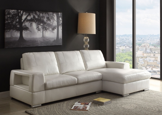 Kaidan  Contemporary Sectional Sofa in Ivory Faux Leather