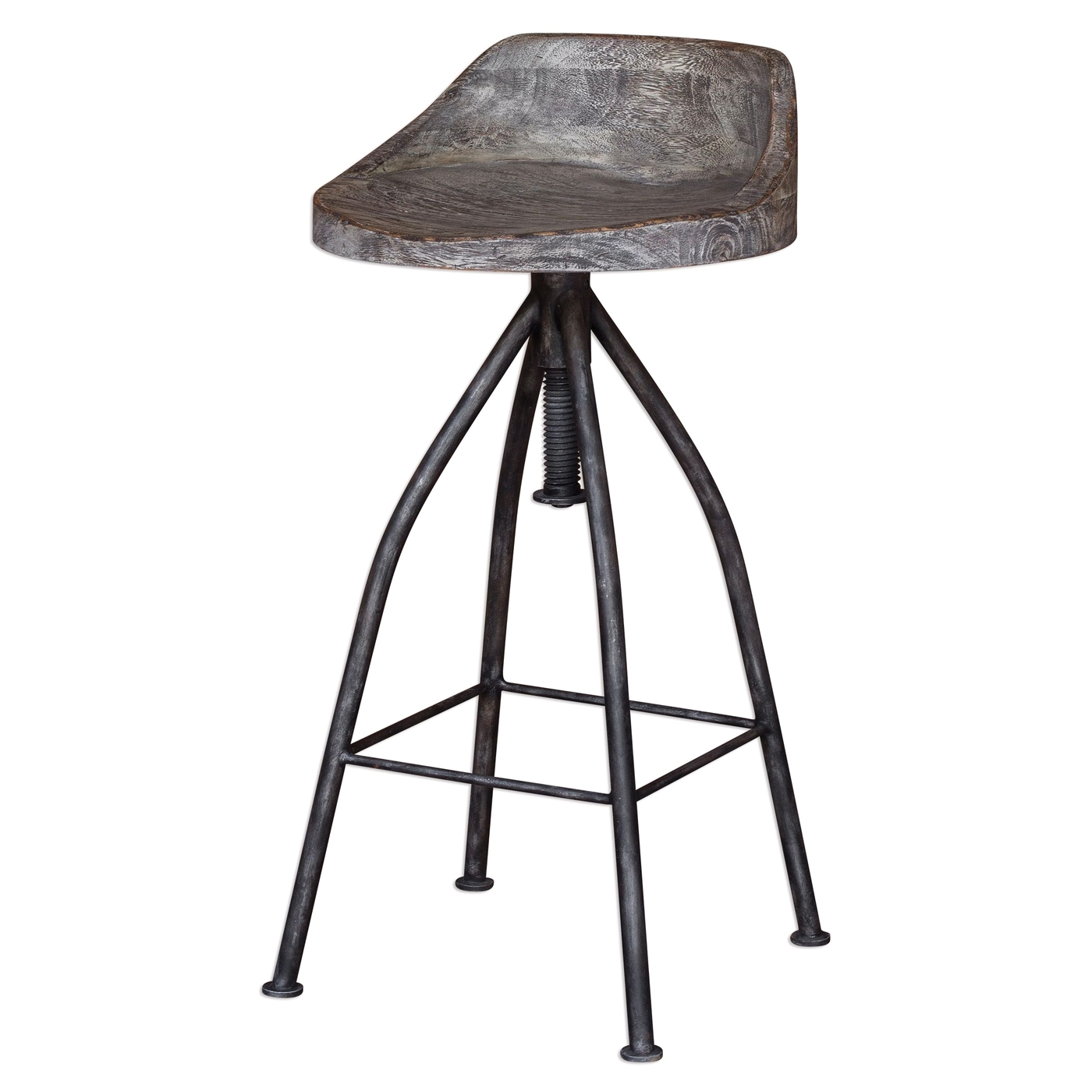 Kairu Rustic Wood Iron Bar Stool With Industrial Swivel Screw Gray Glazed Seat
