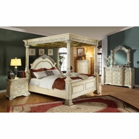 Kamella Antique White Traditional Poster Canopy Bedroom Furniture Set