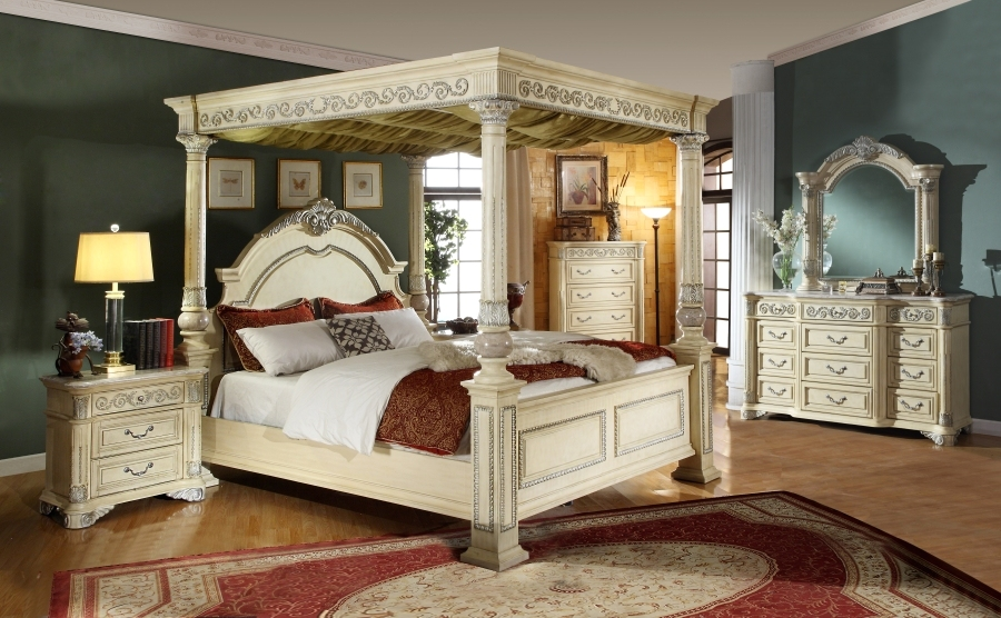 Kamella antique white traditional poster canopy bedroom - Traditional white bedroom furniture ...