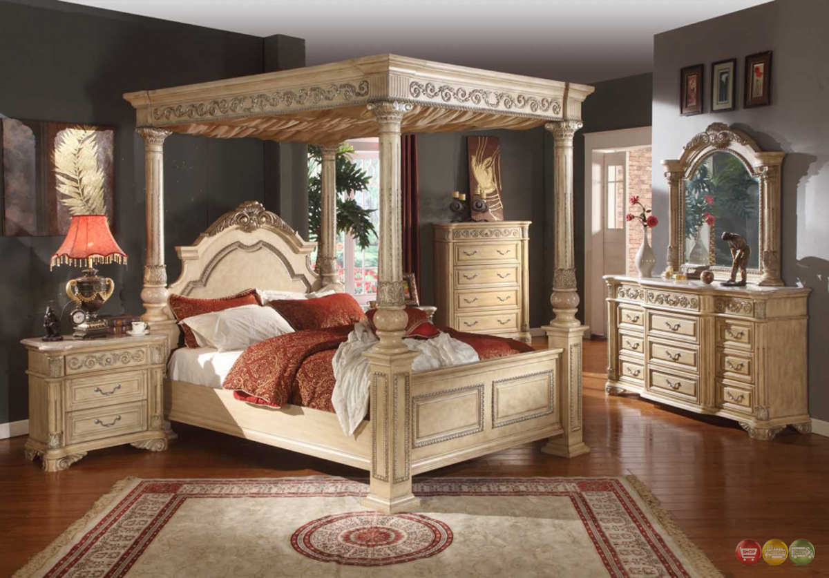 Kamella antique white traditional poster canopy bedroom - White vintage bedroom furniture sets ...