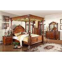 Kamella Traditional Cherry Poster Canopy Bedroom Set w/ Marble Accents