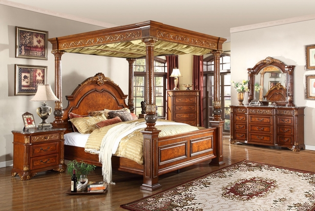 Kamella Traditional Cherry Poster Canopy Bedroom Set w/ Marble Accents & Kamella Bedroom|Free Shipping|ShopFactoryDirect.com