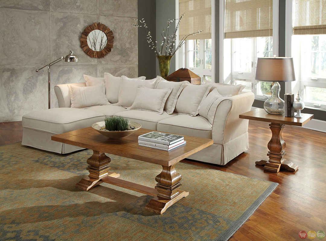 Karlee Linen Upholstery Traditional Cottage Style Sectional Sofa