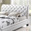 Kate Modern Queen Button-tufted Faux Leather Sleigh Bed, White