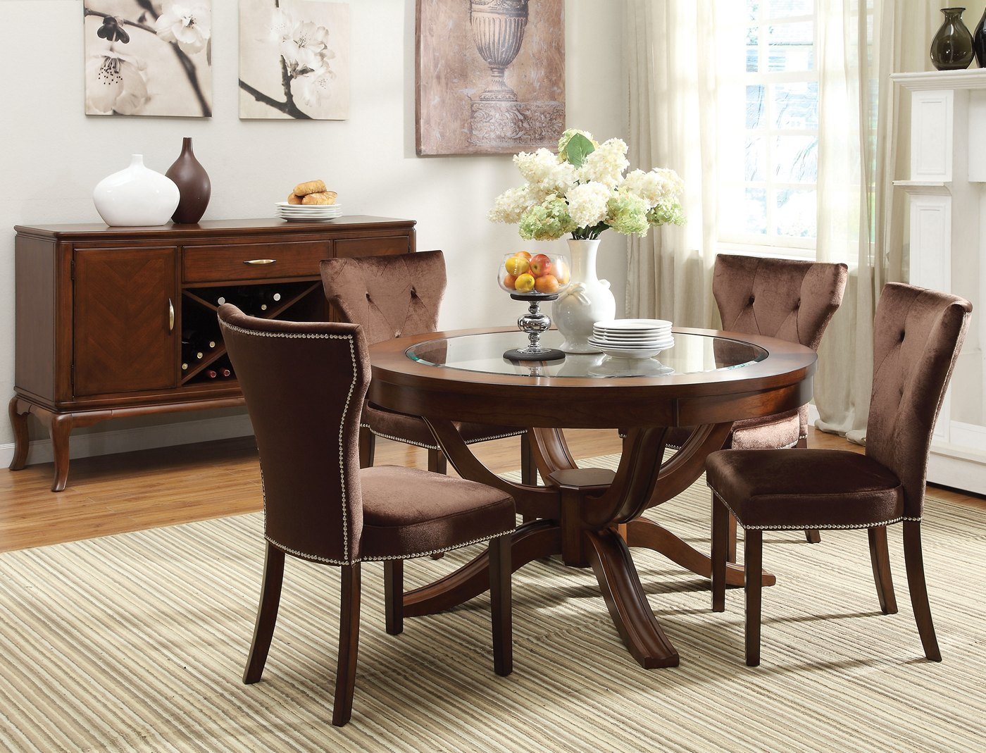 "Kayden 5-pc Round 54"" Dining Table Set W/ Glass Top In"