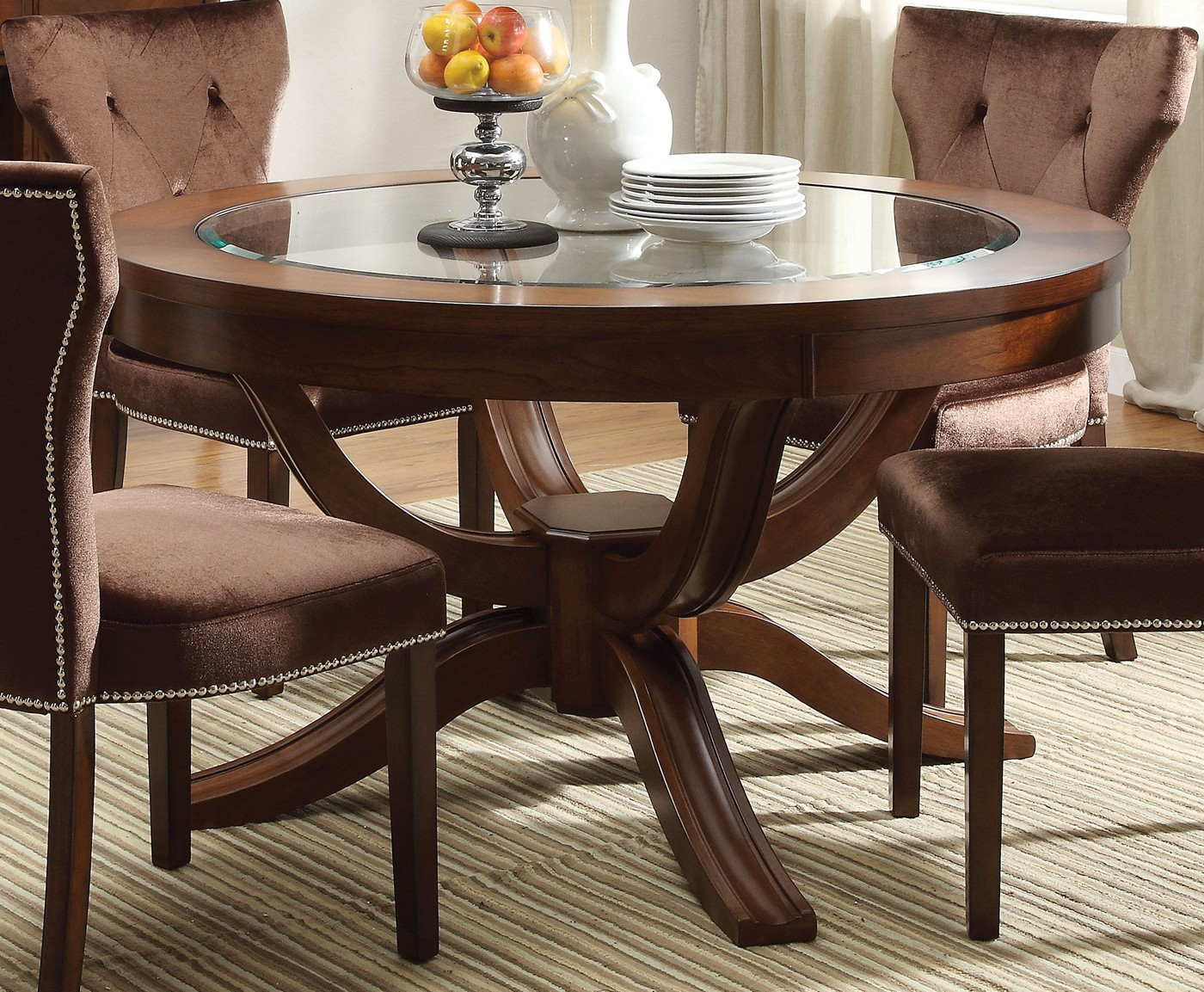 kayden transitional round 54 dining table w glass top in cherry finish. Black Bedroom Furniture Sets. Home Design Ideas