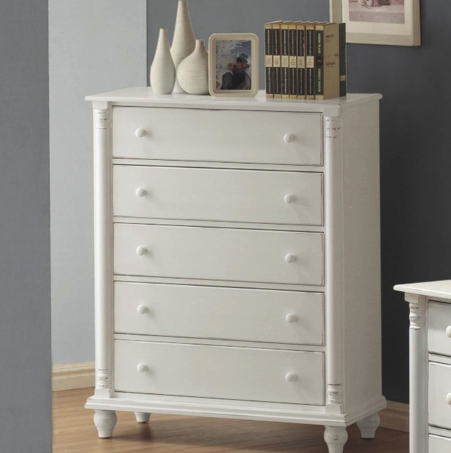 Kayla Five Drawer Solid Wood Chest White Gloss Finish