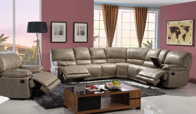 Kayson Casual Beige Reclining Sectional In Premium Leather Air Fabric
