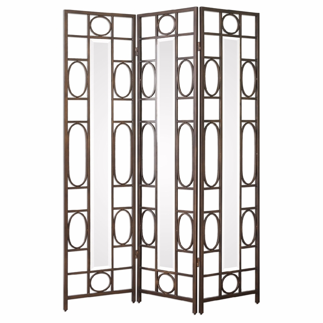 Keagan Hand Forged Iron 3 Panel Floor Screen Room Divider With
