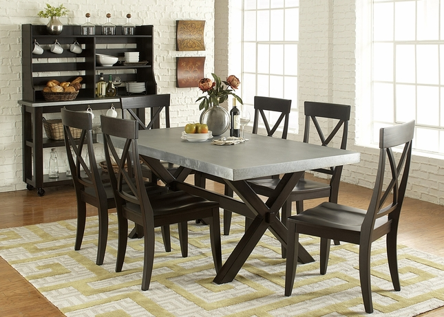 Keaton Charcoal Finish Trestle Table Casual 7pc Dining Set