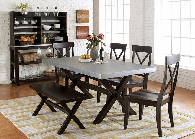 Keaton Charcoal Finish Trestle Table Casual 6pc Dining Set w/ Bench