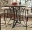 "Keelin Round Back Rustic 5-pc 42"" Oak Finished Counter Height Table Set w/ Slate Inlay"