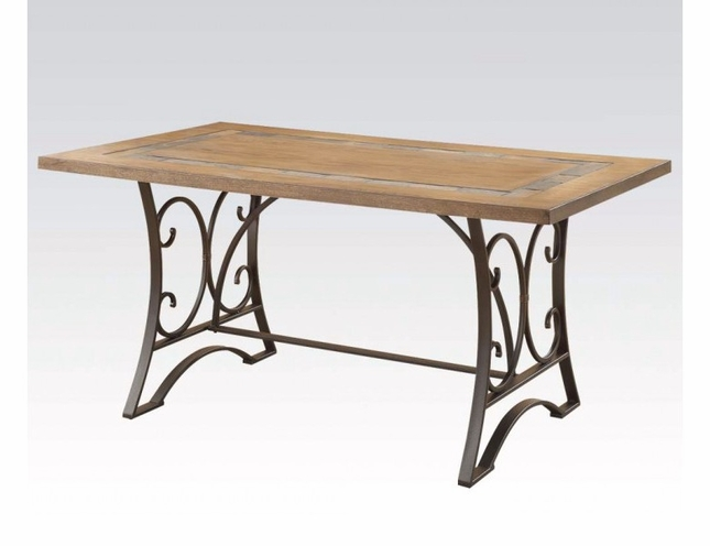 Keelin Rustic Antique Black Oak Finished Dining Set W Slate Inlay - Dining table with slate inlay