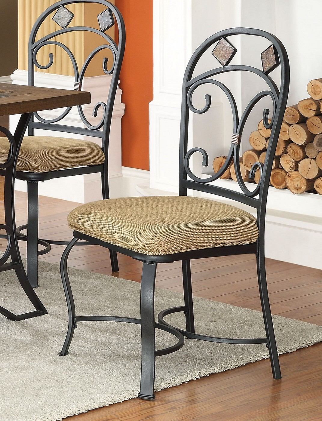 Keelin Rustic 5 Pc 72 Quot Oak Dining Set W Slate Inlay