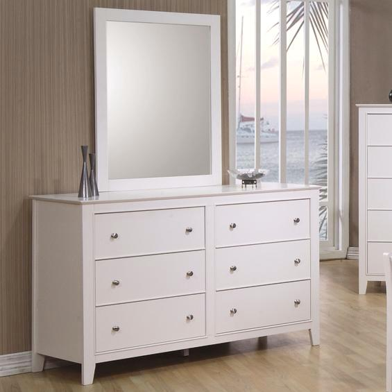 Kelly Modern Six Drawer White Gloss Finish Wood Dresser