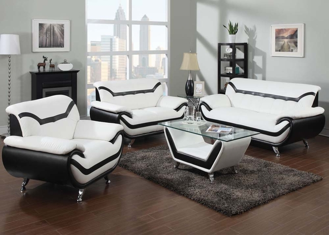 Rozene Black & White Ultra Modern Eco Leather Living Room Sofa Set 51155