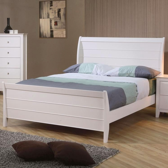 Selena White Finish Solid Wood Twin Size Sleigh Bed