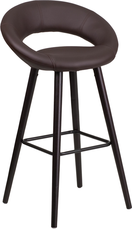 Kelsey 29 High Contemporary Brown Vinyl Barstool W