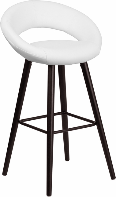 Kelsey 29'' High Contemporary White Vinyl Barstool W/ Cappuccino Wood Frame