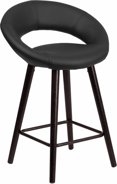 Kelsey Contemporary Black Vinyl Counter Height Stool W/ Cappuccino Wood Frame