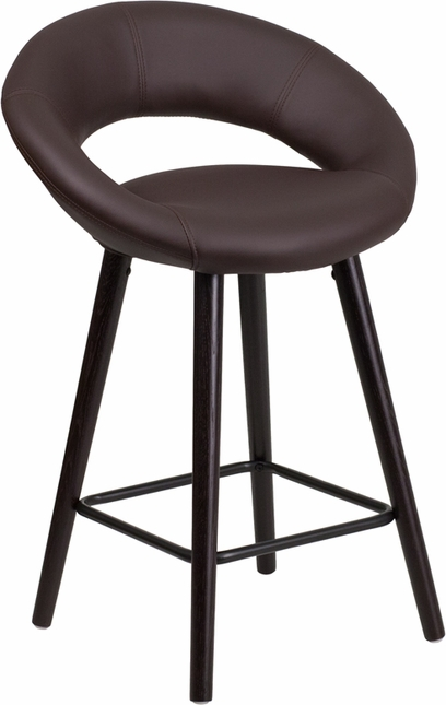 Kelsey Contemporary Brown Vinyl Counter Height Stool W/ Cappuccino Wood Frame