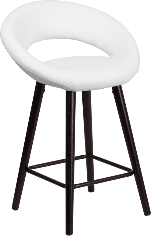 Kelsey Contemporary White Vinyl Counter Height Stool W