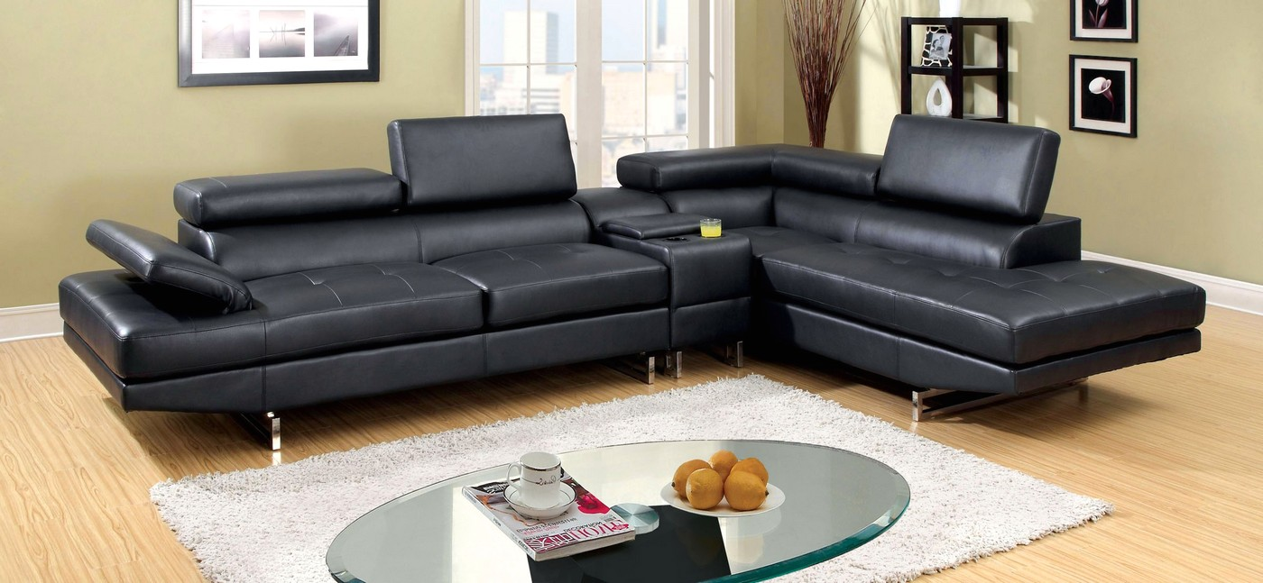 Details About Tatiana Contemporary Black Bonded Leather Sectional Sofa With Chrome Legs