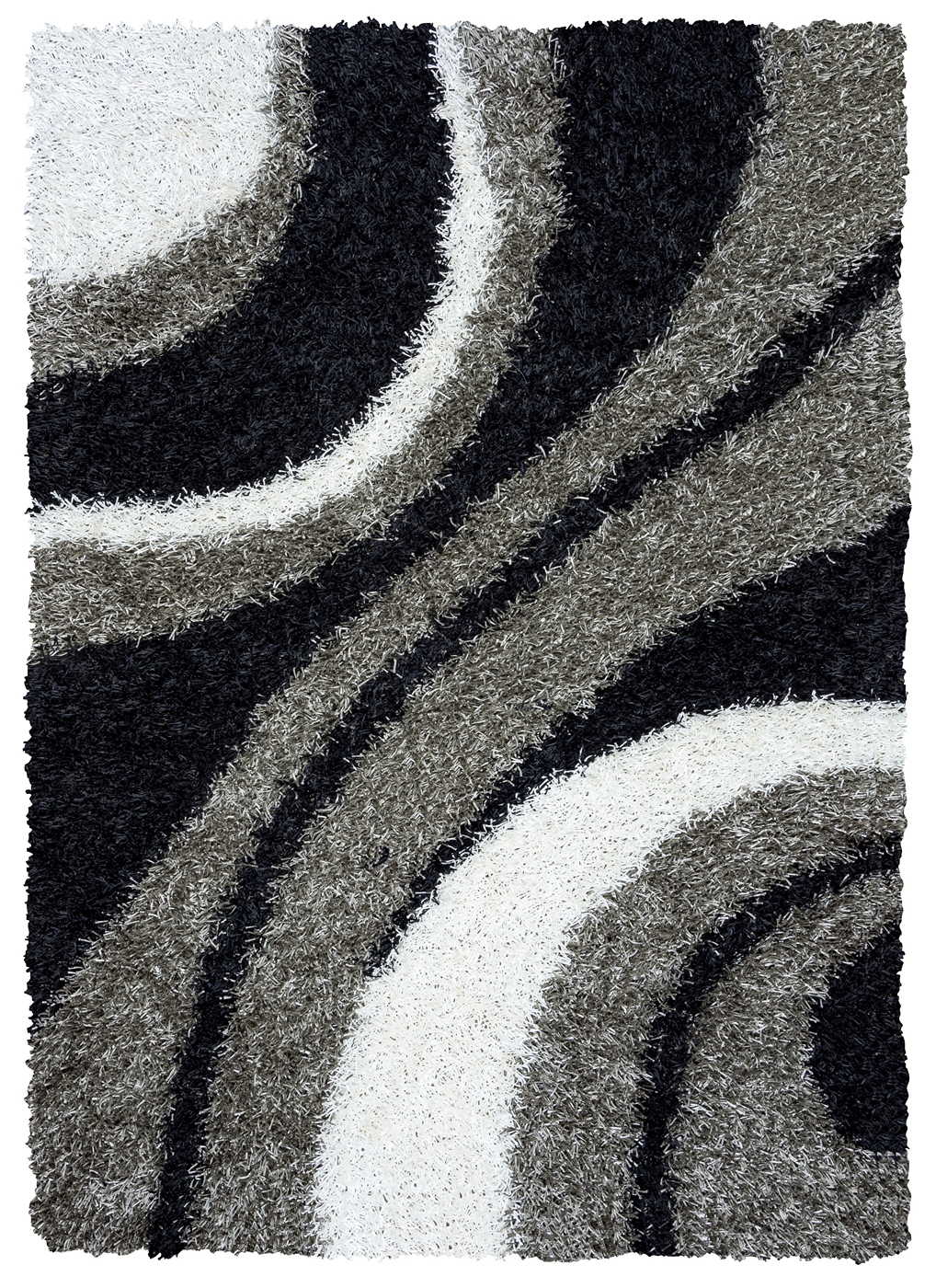kempton ultra plush striped area rug in grey black white 6 39 x 9 39. Black Bedroom Furniture Sets. Home Design Ideas