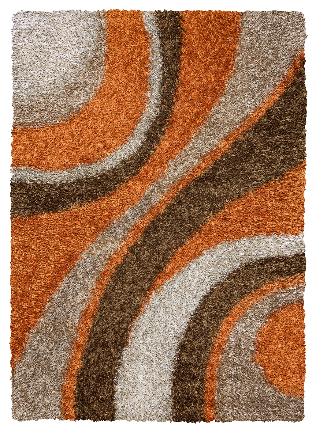 Kempton Ultra Plush Striped Area Rug In Orange Brown Khaki
