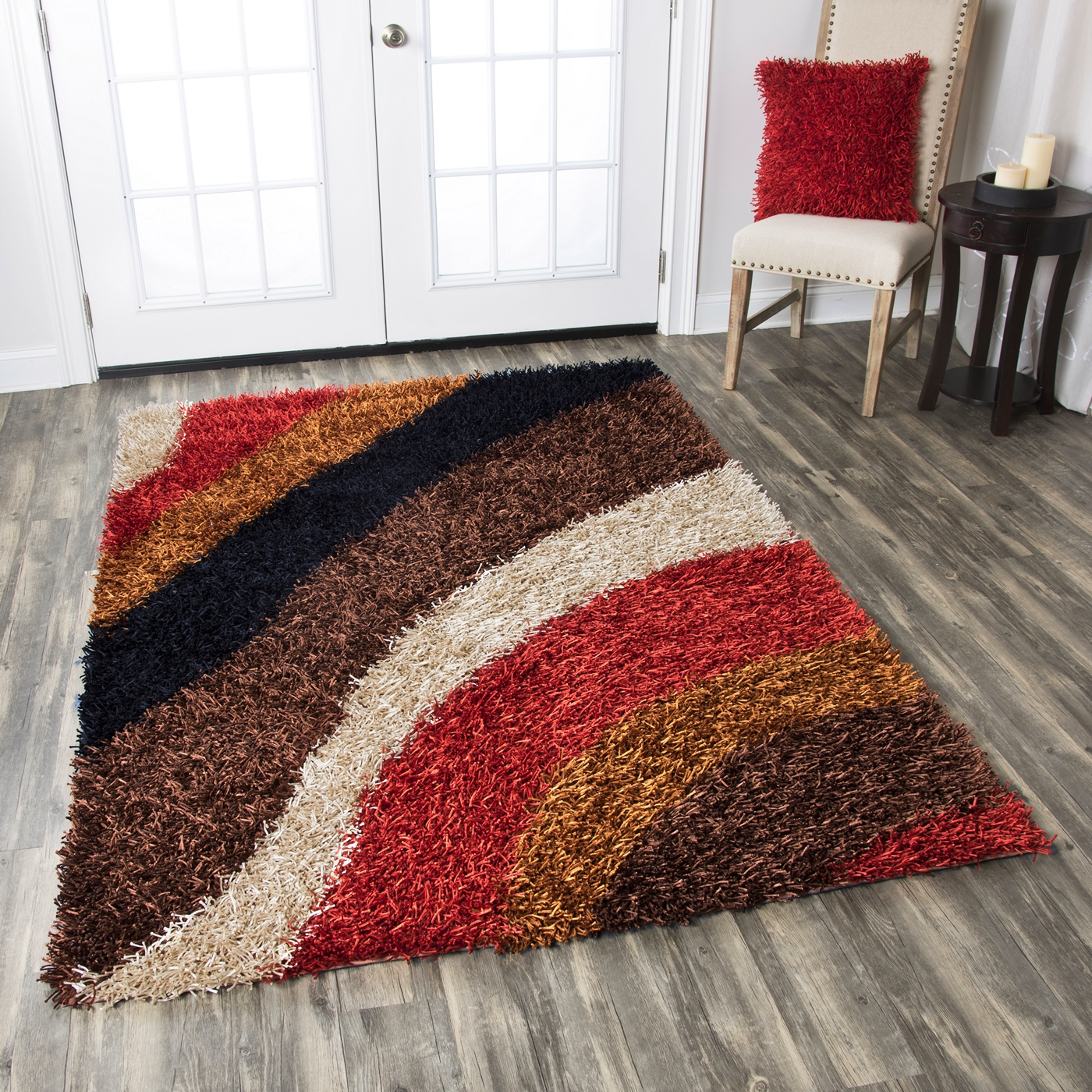 Kempton Ultra Plush Striped Area Rug In Red Brown Khaki