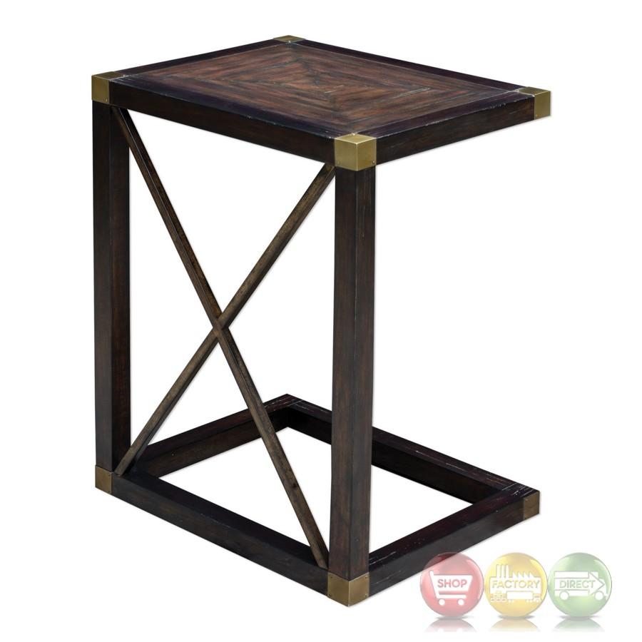 Kendi dusty black wooden side table with iron cross for Black wood side table