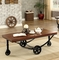 Kendra Industrial Wood Coffee Table with Black Metal Suspension Style Base