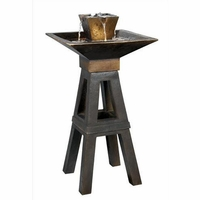 Kenei Floor Water Fountain Copper Bronze Asian Mission - 50613CPBZ