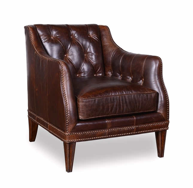 Kennedy Walnut Transitional On Tufted Full Grain Leather Chair