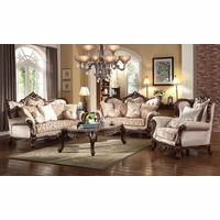Kensington French Provincial Beige Chenille Sofa Loveseat Set