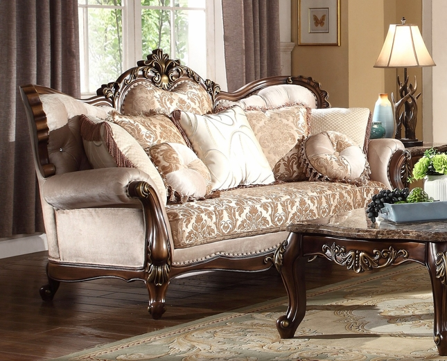 Kensington Victorian Beige Amp Gold Chenille Sofa With Birch