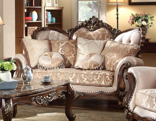 Kensington Victorian Beige Amp Gold Chenille Loveseat With
