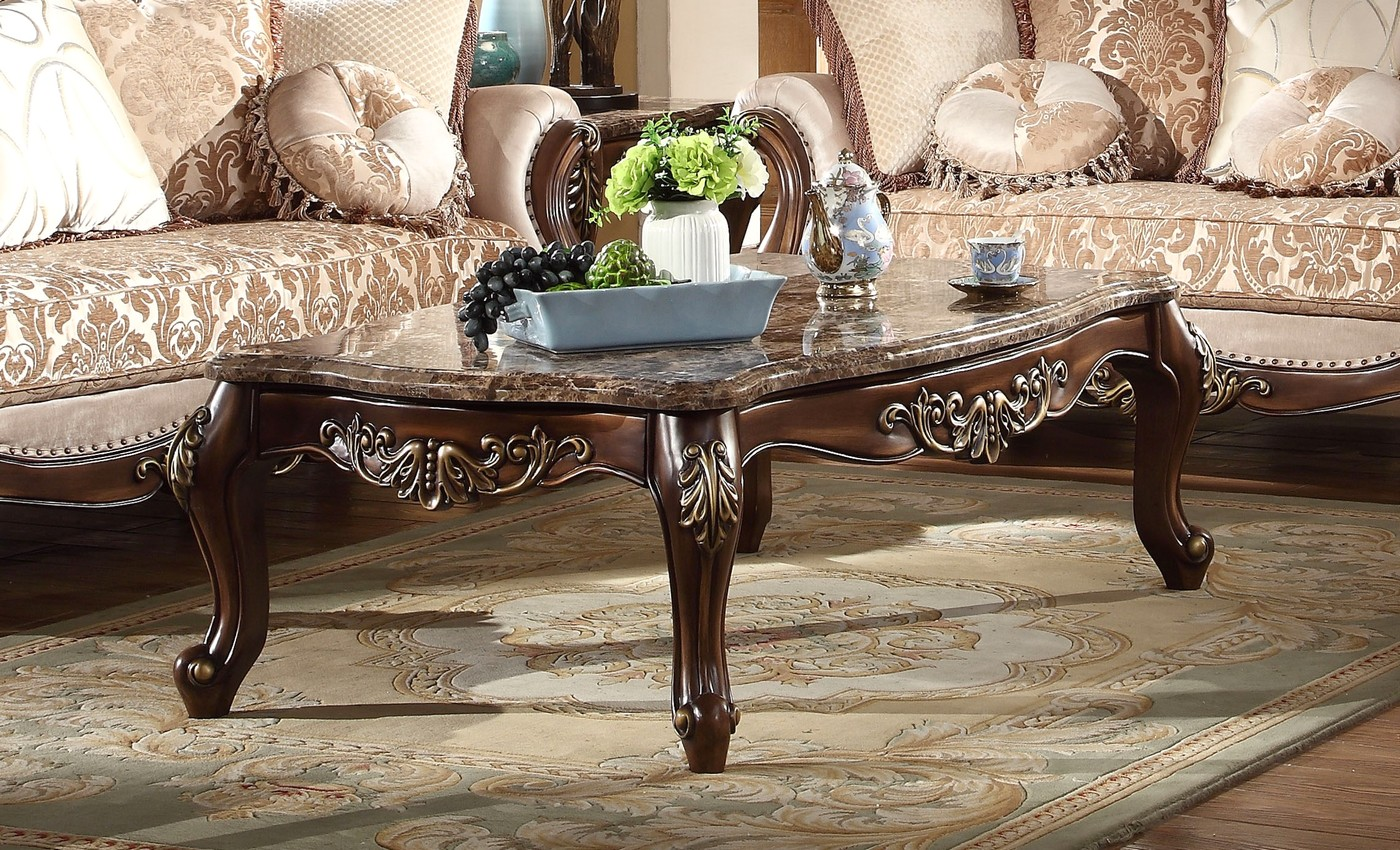 Kensington French Provincial Marble Top Coffee Table In ...
