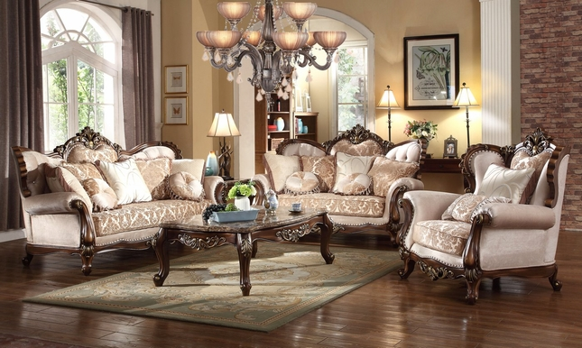 Kensington French Provincial Beige Chenille Sofa & Loveseat Set